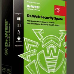 Dr.Web Security Space - лицензия на 1 год на 2 ПК