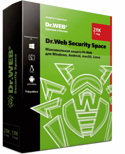 Dr.Web Security Space - лицензия на 1 год на 2 ПК