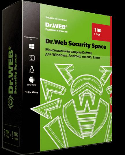 Dr.Web Security Space - лицензия на 1 год на 1 ПК