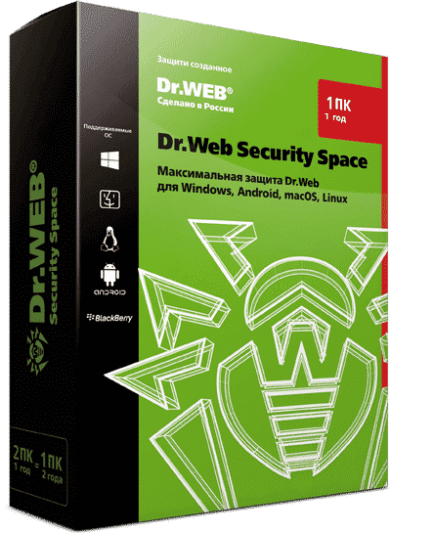 Dr.Web Security Space - лицензия на 1 год на 1 ПК